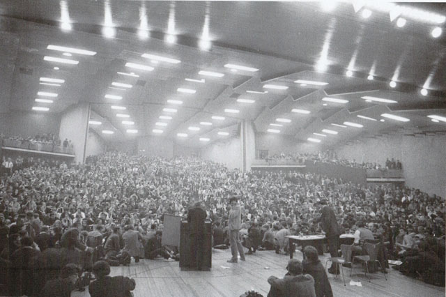 Vollversammlung nach dem Anschlag auf Rudi Dutschke April 1968