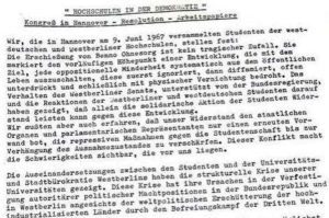 Kongreß: Hochschulen in der Demokratie, in Hannover, Resolution