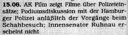 15.06.1967 AK Film zeigt Filme über Polizeieinsätze