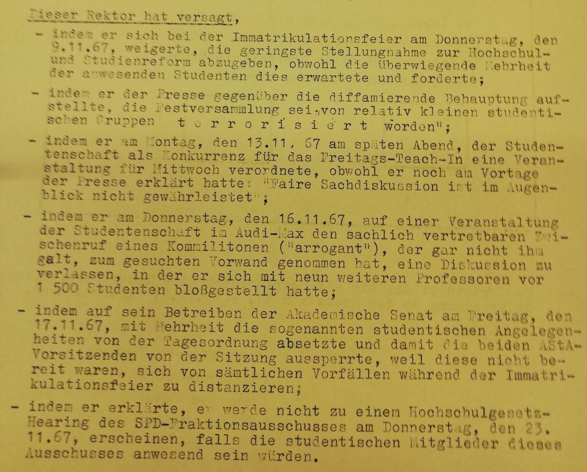 23.11.1967 Studierendenparlament Antrag - Urabstimmung über Rektor Ehrlicher