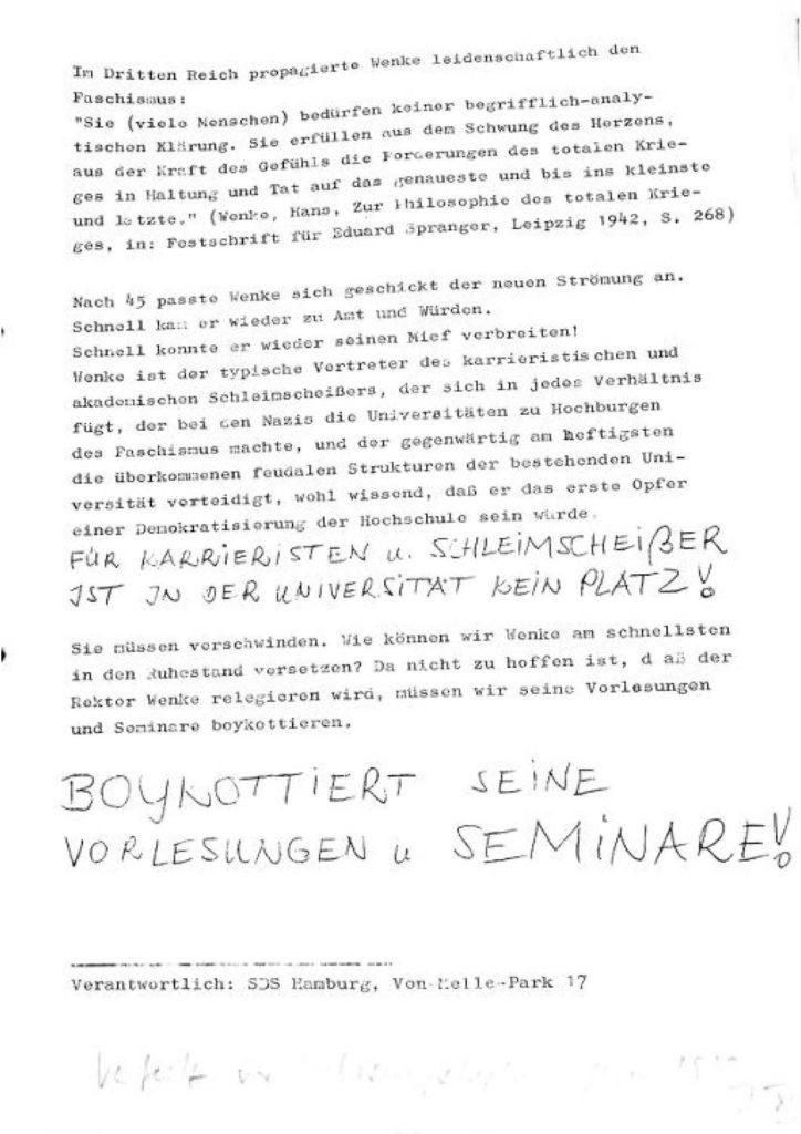 12.1967 SDS Wenke Vorlesungsboykott