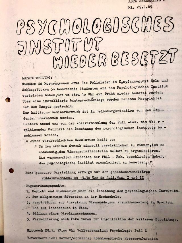 Asta Sonderinfo 29.1.1969 Besetzung Psychologisches Institut